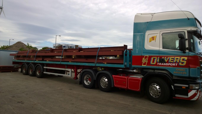 Steel loaded for transportation